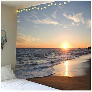 Waterproof Seaside Sunset Wall Tapestry